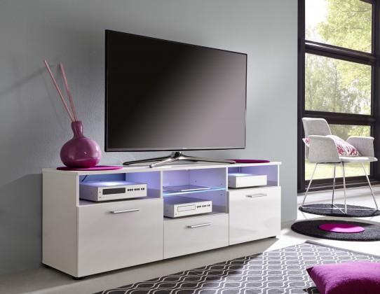 Mediathek - TV stolek 322 (bílá mat/bílá vysoký lesk)