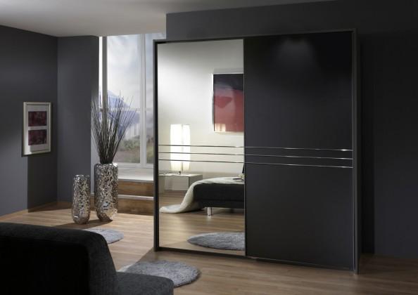 Medina - Šatní skříň, 2x posuvné dveře (lava černá)