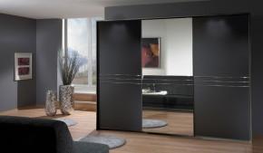 Medina - Šatní skříň, 3x posuvné dveře (lava černá)