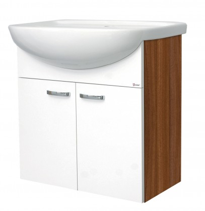 Melbourne - Skříňka s umyvadlem 60cm (ořech/bílá)