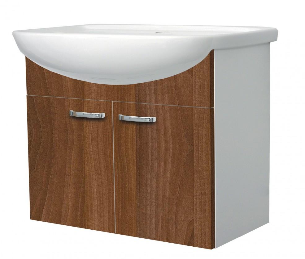 Melbourne - Skříňka s umyvadlem 70cm (bílá/ořech)