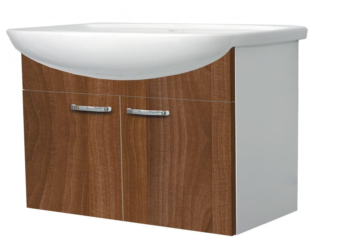 Melbourne - Skříňka s umyvadlem 80cm (bílá/ořech)