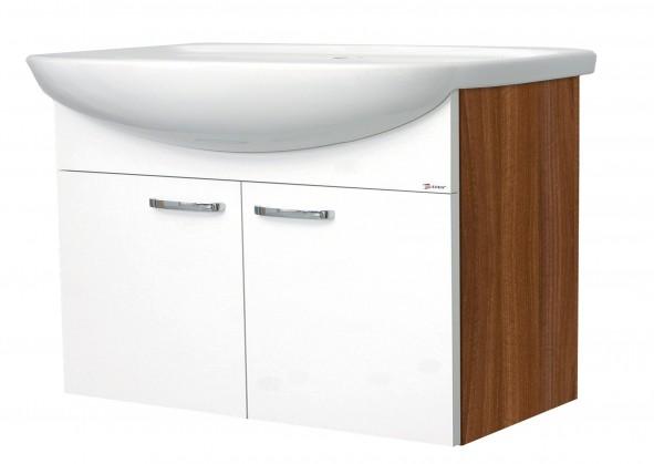 Melbourne - Skříňka s umyvadlem 80cm (ořech/bílá)