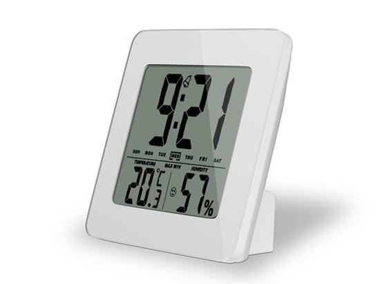 Meteostanice Solight teploměr, vlhkost, budík, LCD, bílý rámeček, TE12W