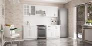 Michelle - Kuchyňský blok, 180/240 cm (bílá,černá úchytka)