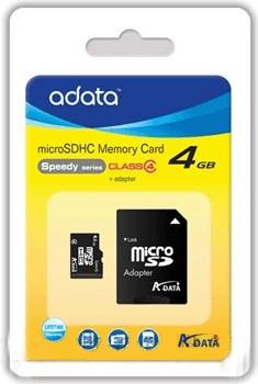 Micro SDHC A-Data micro SDHC 4GB class 4 + adaptér