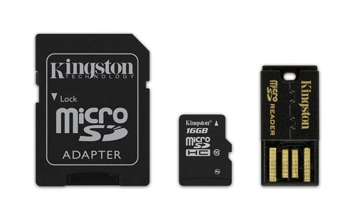 Micro SDHC Kingston Micro SDHC 16GB Class 10 + adaptér, USB čtečka