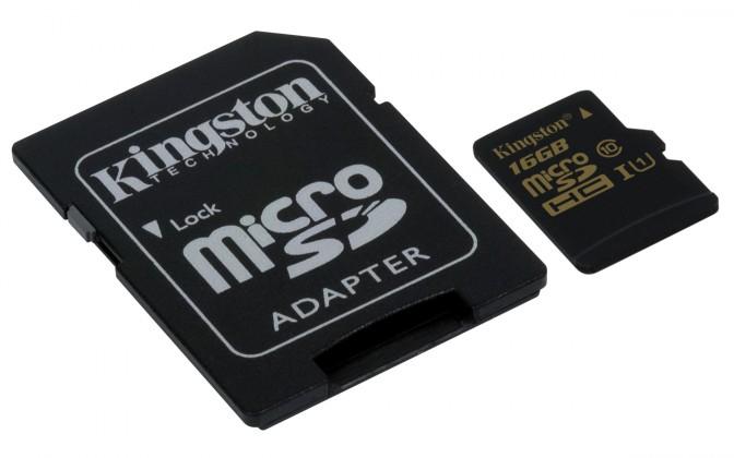 Micro SDHC Kingston Micro SDHC 16GB class 10 UHS-I + adaptér - SDCA10/16GB