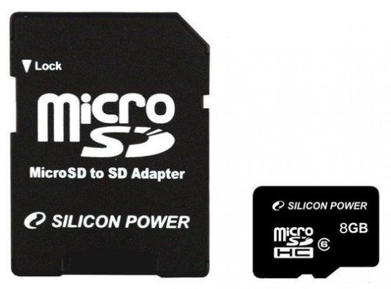 Micro SDHC Silicon Power micro SDHC 8GB (Class 6) + SD adaptér