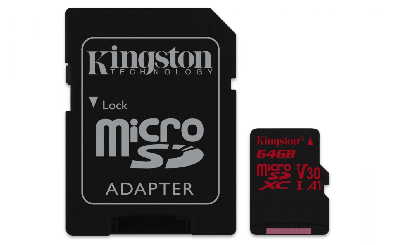 Micro SDXC Kingston Micro SDXC Canvas React 64GB 100MB/s UHS-I + SD adaptér