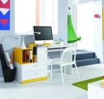 Mobi - PC stůl, 1x dveře, 2x zásuvka (bílá lesk/žlutá)