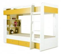 Mobi - Postel dvoupatrová (bílá lesk/žlutá)