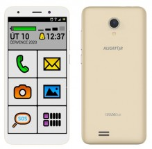 Mobilní telefon ALIGATOR S5520 SENIOR 1GB/16GB, zlatý + DÁREK Antivir Bitdefender pro Android v hodnotě 299 Kč