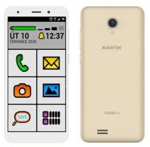 Mobilní telefon ALIGATOR S5520 SENIOR 1GB/16GB, zlatý POUŽITÉ, NE + DÁREK Antivir ESET pro Android v hodnotě 299 Kč