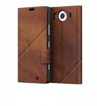 Mozo flip kožené pouzdro pro Lumia 950, hnědá POUŽITÉ