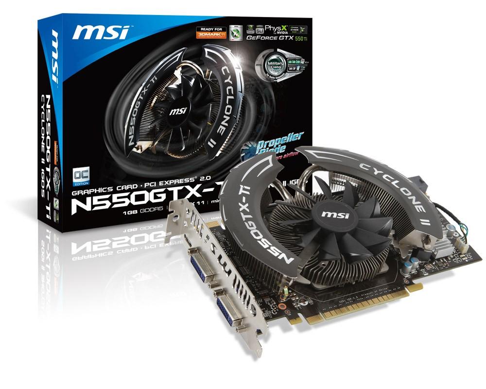 MSI N550GTX-TI CYCLONE II 1GD5/OC/ PCI-E/ 1GB GDDR5/ 2xDVI/ HDMI