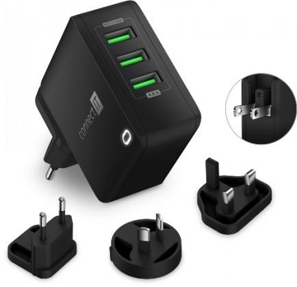 Nabíjecí adaptér Connect IT CWC-3310-BK, 3xUSB-A, 24W, černý