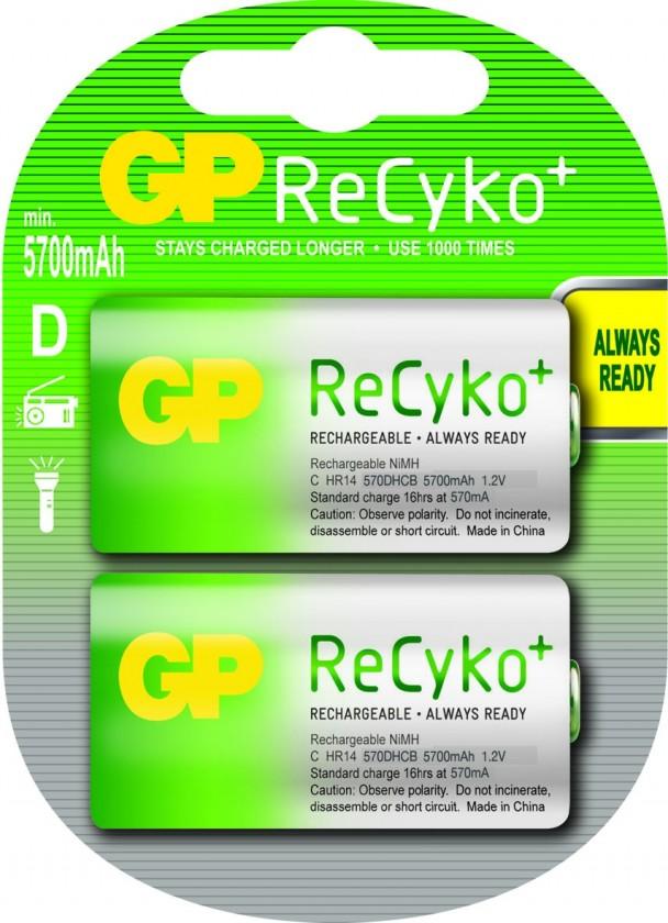 Nabíjecí baterie, nabíječky Nabíjecí baterie GP Recyko+ D 5700 mAh 2ks