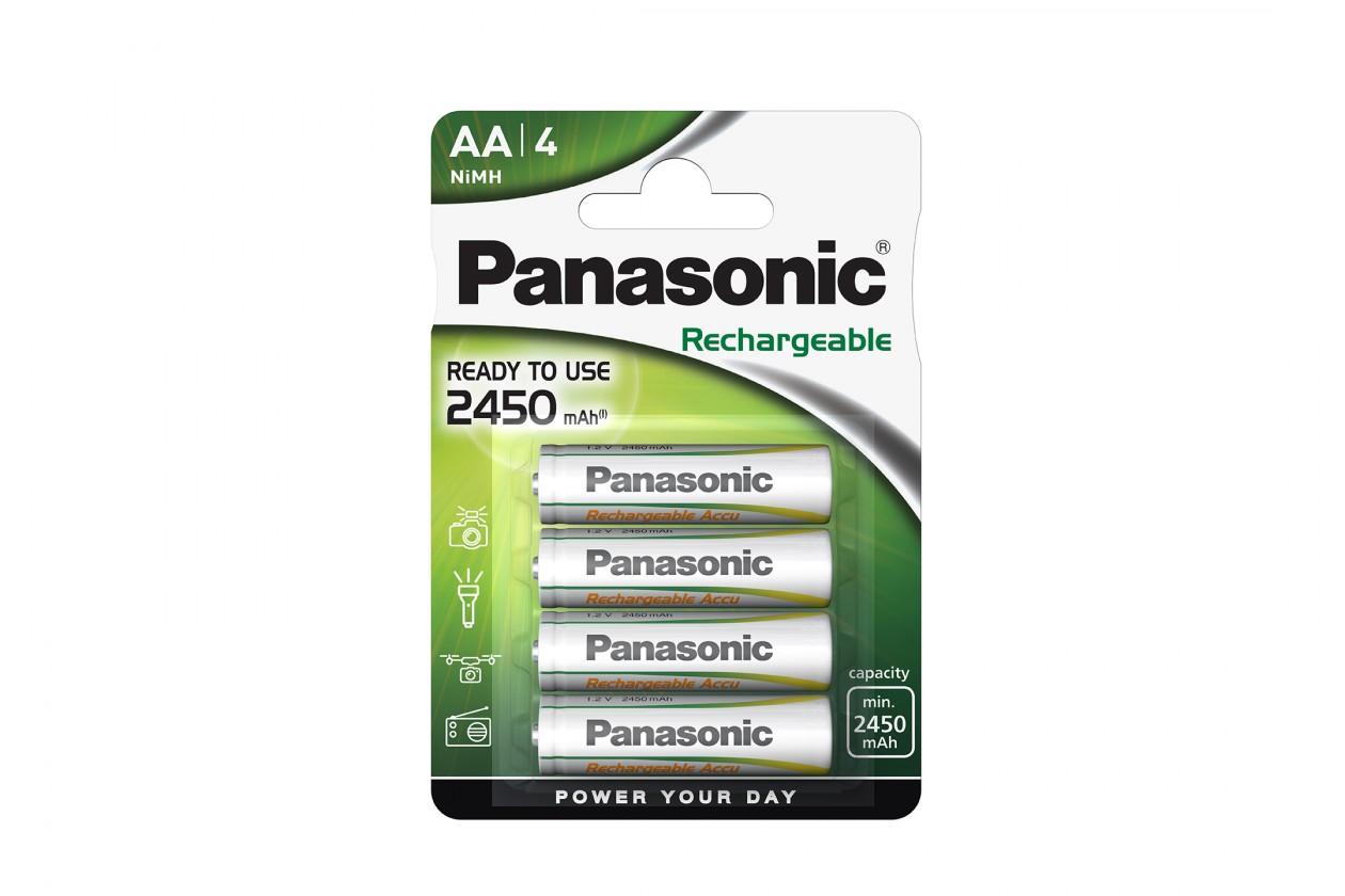 Nabíjecí baterie, nabíječky Nabíjecí baterie Panasonic, AA, přednabité, 2450mAh, NiMh, 4ks