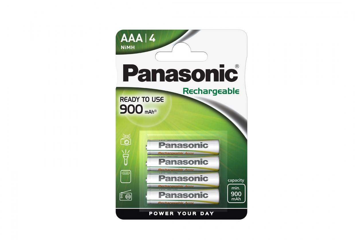 Nabíjecí baterie, nabíječky Nabíjecí baterie Panasonic, AAA, přednabité, 900mAh, NiMh, 4ks