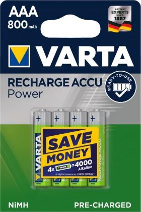 Nabíjecí baterie, nabíječky Nabíjecí baterie Varta, AAA, 800mAh, 4ks