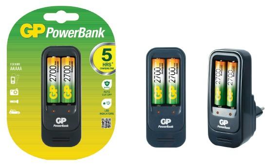 Nabíjecí baterie, nabíječky Nabíječka baterií GP Power Bank 560 + 2x AA 2700mAh