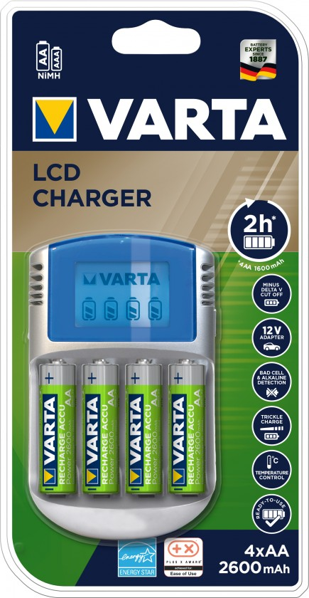 Nabíjecí baterie, nabíječky Nabíječka baterií Varta LCD charger, 4xAA, 2600mAh