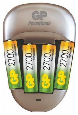 Nabíjecí baterie, nabíječky Nabíječka GP Power Bank Quick 3, 4x AA 2500mAh