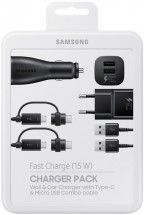 Nabíjecí sada Samsung autonabíječka+nabíječka+2x kabel, černá