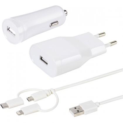Nabíjecí sada Vivanco autonabíječka+nabíječka+kabel 3v1, bílá