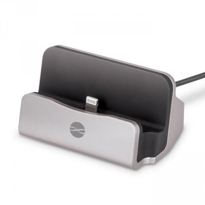 Nabíjecí stojánek pro mobilní telefony s Lightning, stříbrná