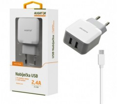 Nabíječka Aligator 2xUSB 2,4A +kabel Micro USB, bílá