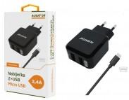 Nabíječka Aligator 2xUSB 2,4A + kabel Micro USB, černá
