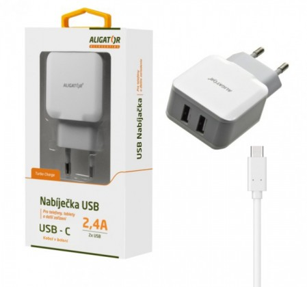 Nabíječka Aligator 2xUSB 2,4A + kabel USB Typ C, bílá
