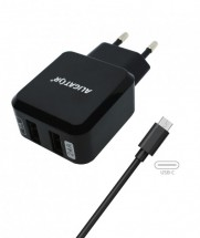 Nabíječka Aligator 2xUSB 2,4A +kabel USB Typ C, černá