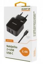 Nabíječka Aligator 2xUSB 2,4A + kabel USB Typ C, černá