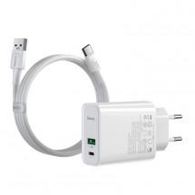 Nabíječka Baseus, USB-A + USB-C, 30W, s kabelem, bílá