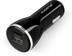 Nabíječka do auta Aligator 1xPD USB Typ-C 20W + 1x USB, černá