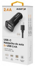 Nabíječka do auta Aligator 2xUSB 2.4A Turbo charge + kabel Typ C