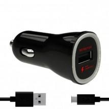 Nabíječka do auta WG 1xUSB 2,4A, Fast Charging + kabel Type C