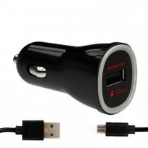 Nabíječka do auta WG 1xUSB + kabel Micro USB, černá