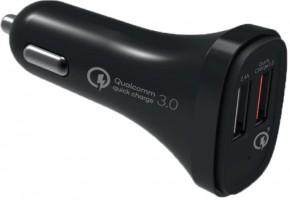 Nabíječka do auta WG 2xUSB + kabel Lightning, černá