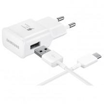 Nabíječka Samsung 1xUSB 2A + kabel USB Typ C, bílá