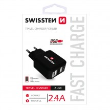 Nabíječka Swissten 2xUSB 2,4A, černá