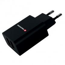 Nabíječka Swissten 2xUSB, 2,4A Fastcharge, černá