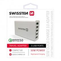 Nabíječka Swissten 5xUSB 50W, rychlonabíjení a smart nabíjení