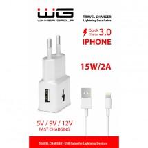 Nabíječka WG 1xUSB s rychlonabíjením + kabel Lightning