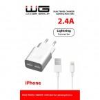 Nabíječka WG 2xUSB 2,4A + kabel Lightning MFI, bílá