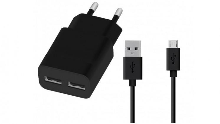 Nabíječka WG 2xUSB 2,4A + kabel Micro USB, černá
