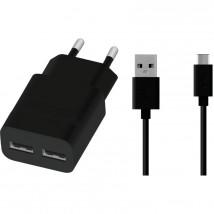Nabíječka WG 2xUSB 2,4A + kabel Type C, černá